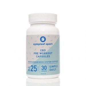 Bottle of CBD Sports Pre Workout Capsules by Sympleaf